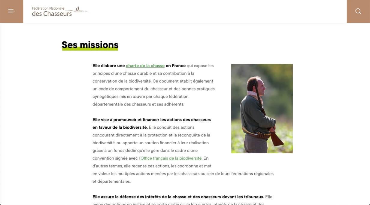 Missions de la Fédération Nationale des Chasseurs