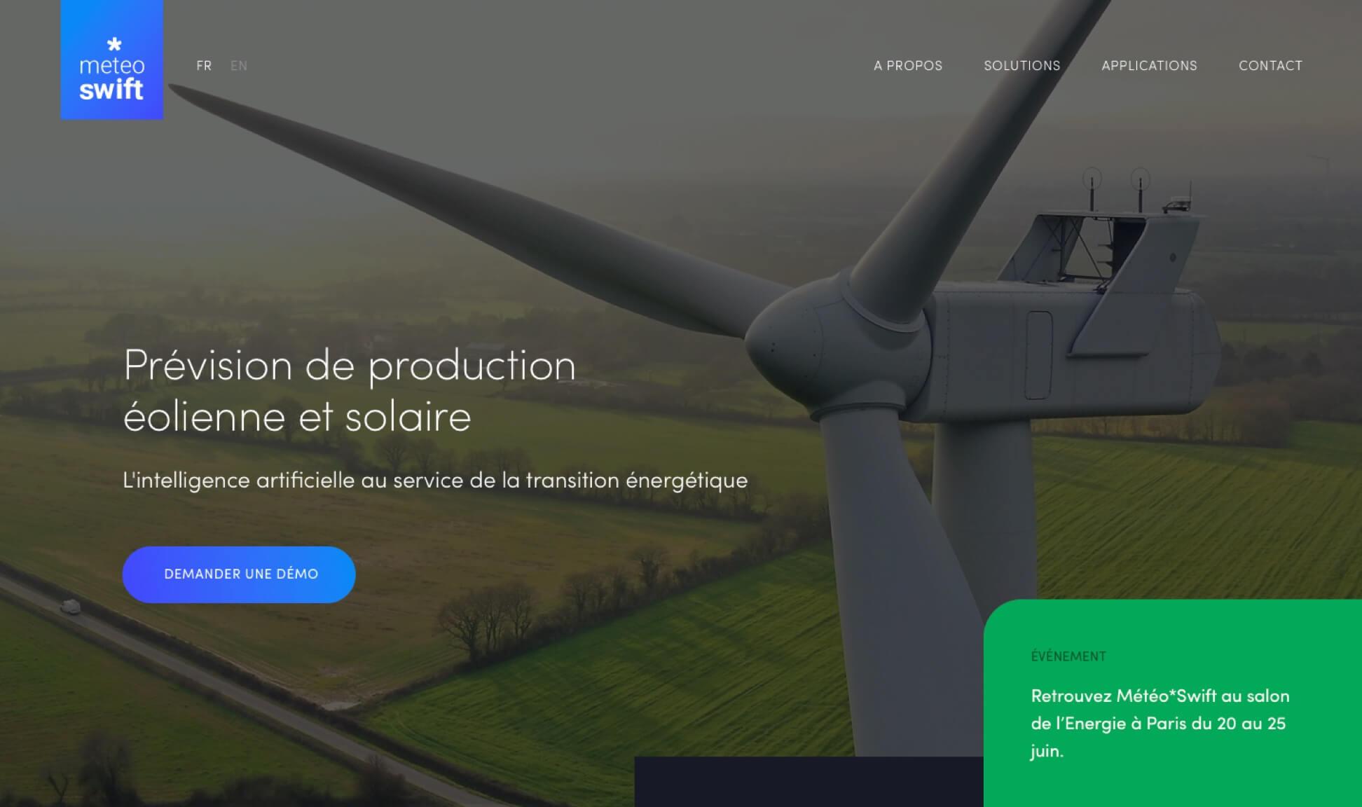 Page Prévision de production éolienne et solaire Meteo*Swift