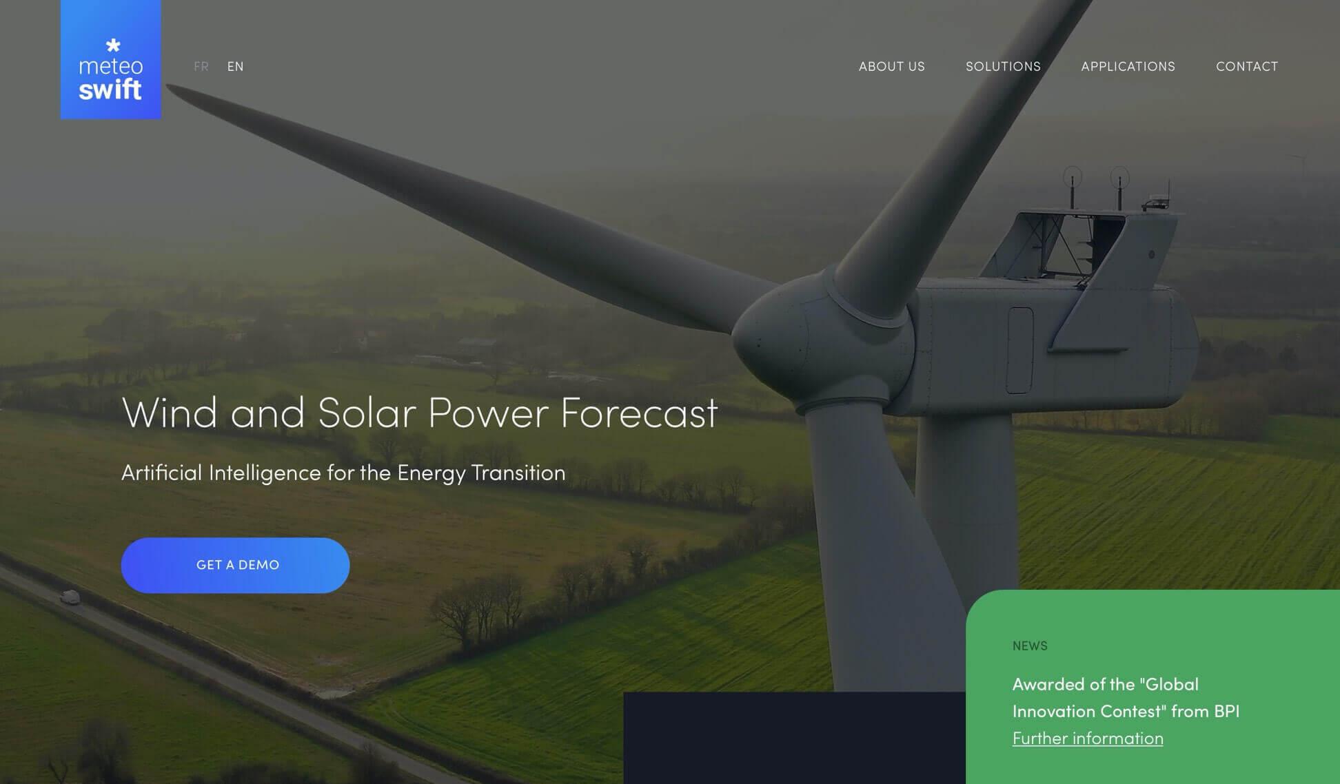Page Solution Prévisions de production éolienne Meteo*Swift