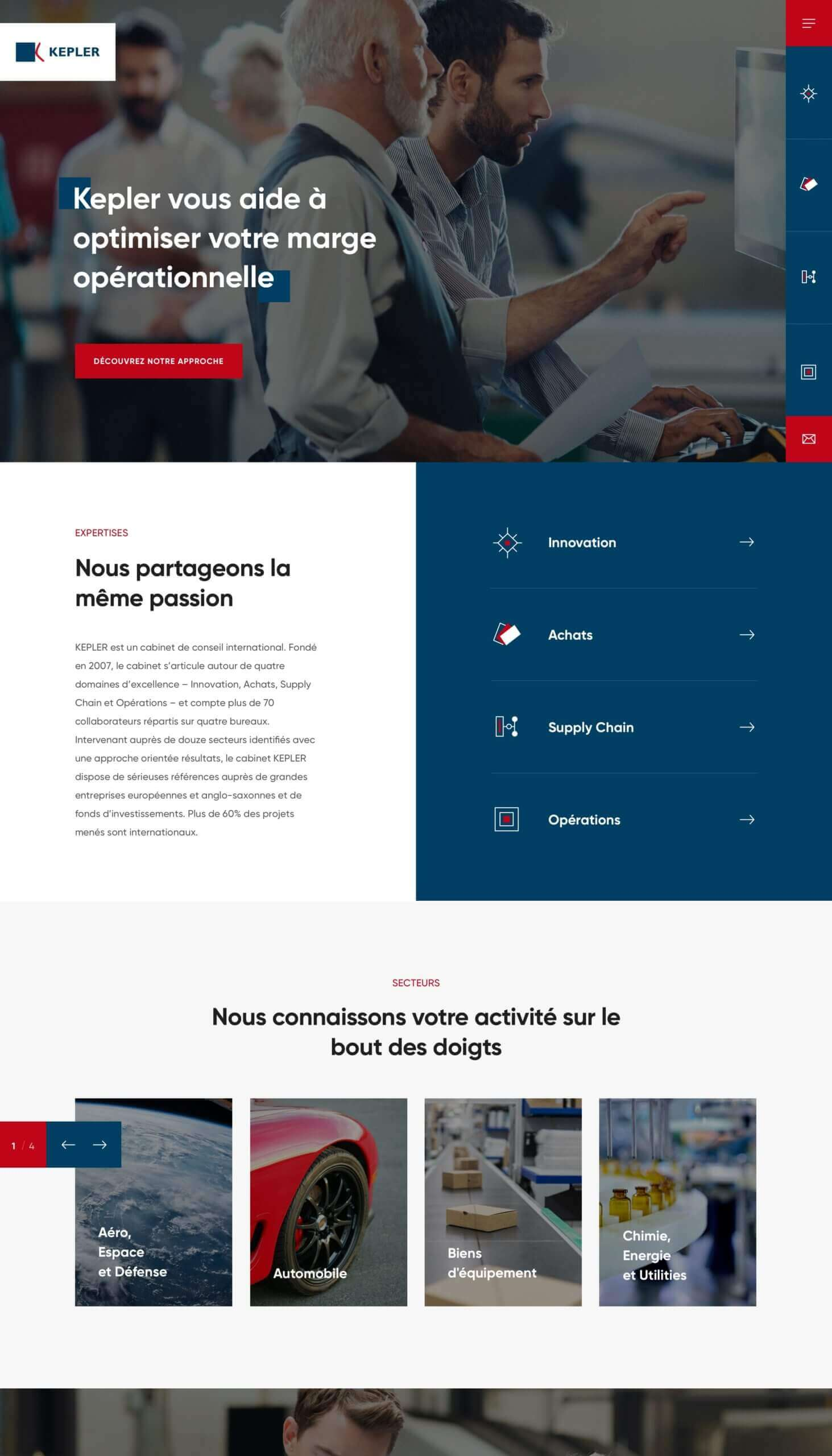 Design de la page accueil Kepler Consulting