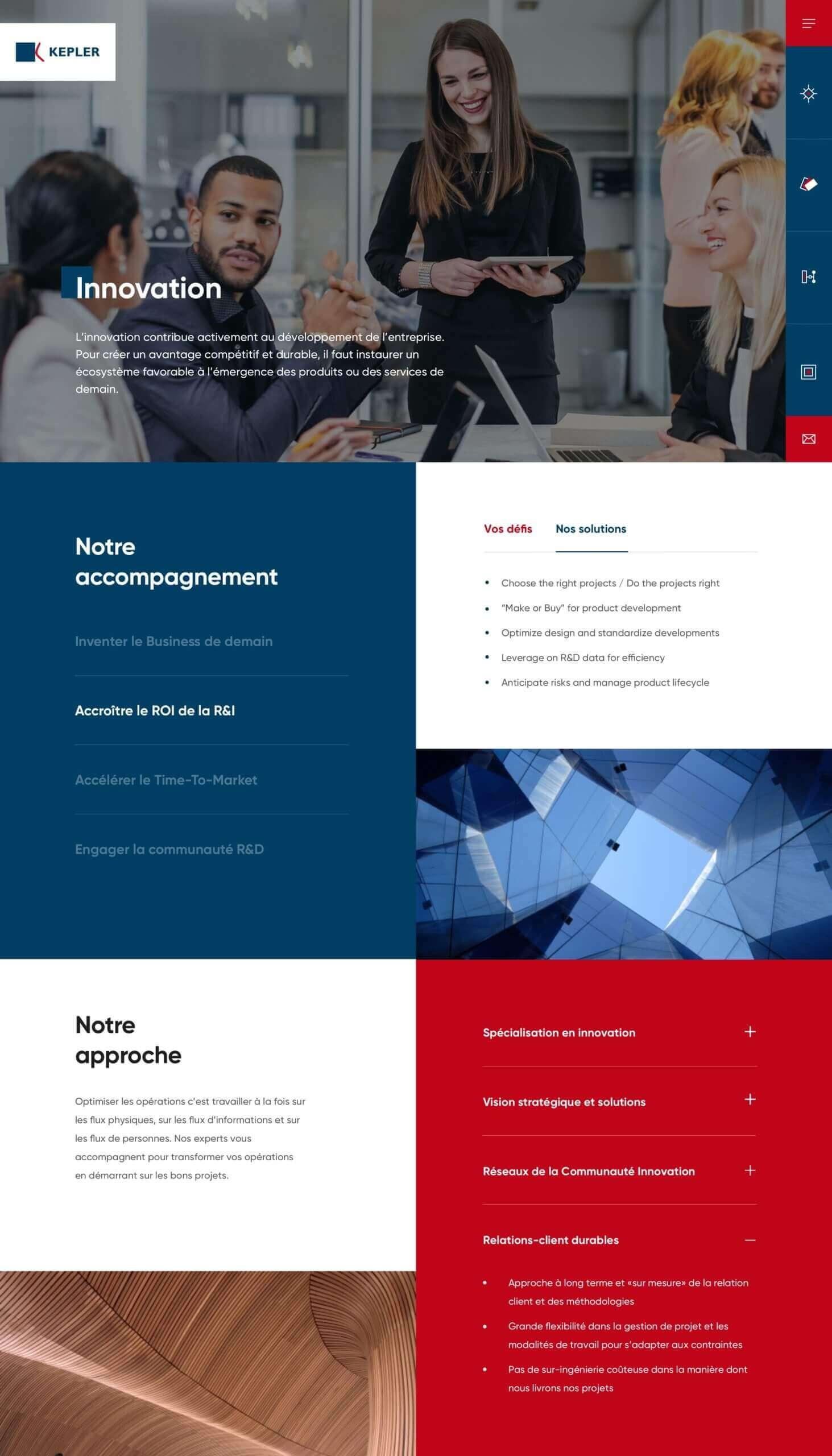 Design de la page inovation Kepler Consulting