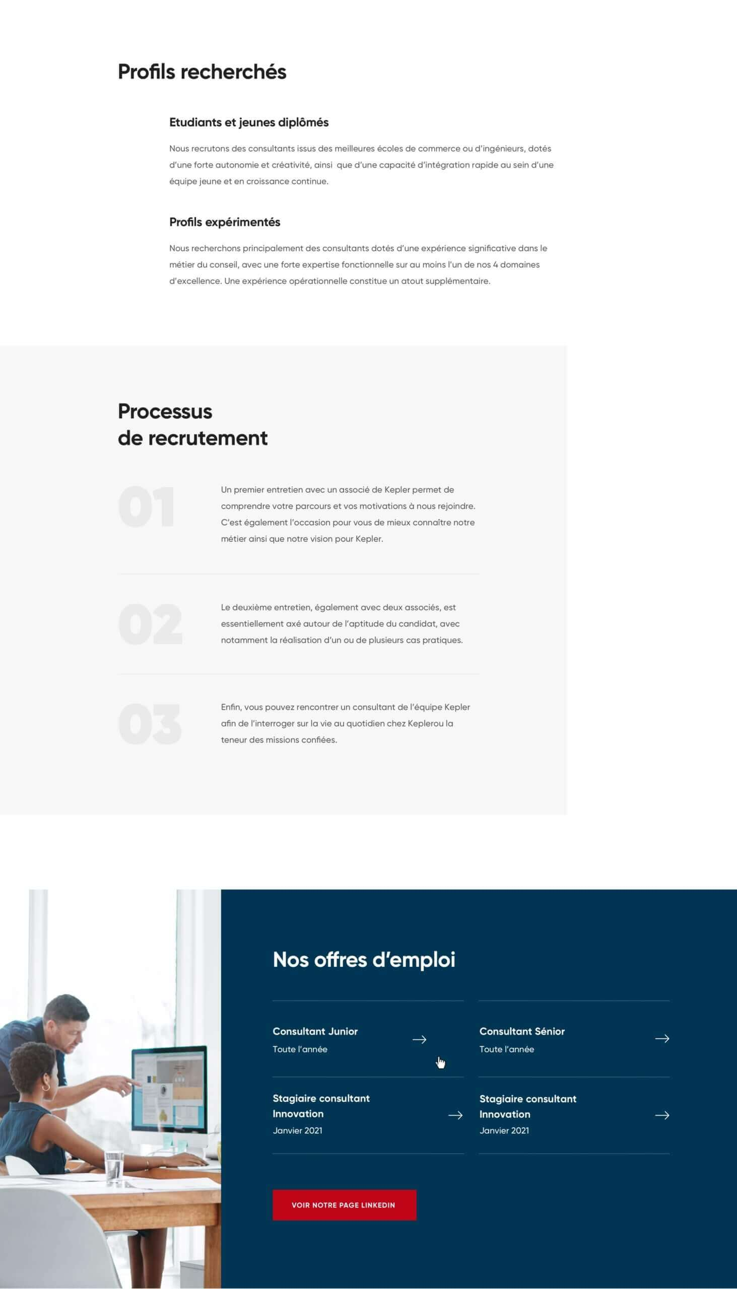 Design de la page recrutement Kepler Consulting